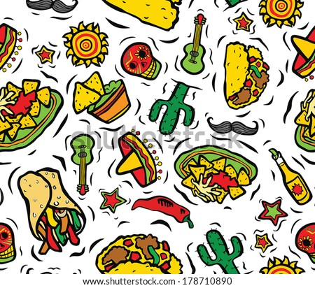 Super Mexican Food and Objects Seamless Background - stock vector