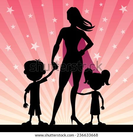 Super mom with her kids. No transparency used. Basic (linear) gradients.  - stock vector