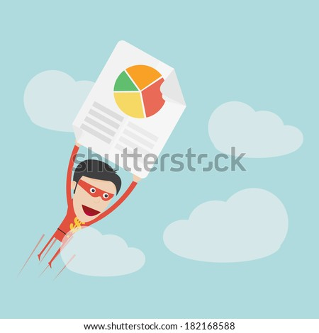 Super money man flying for business and finance concept  - stock vector