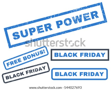 Super Power rubber seal stamp watermark with additional images for Black Friday offers. Vector smooth blue signs. Caption inside rectangular shape with grunge design and unclean texture.