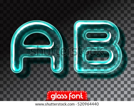 Super realistic glass alphabet font with transparency and shadows. 3D glowing glass bulb. Isolated letters and numbers for dark backgrounds