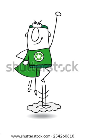 Super recycling hero in action. Super Recycling Hero is flying away quickly! It's an emergency. He can help your company to recycling her wastes ! - stock vector