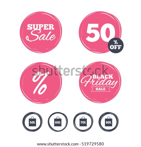 Super sale and black friday stickers. Sale bag tag icons. Discount special offer symbols. 50%, 60%, 70% and 80% percent discount signs. Shopping labels. Vector