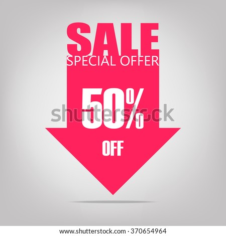 Super Sale arrow banner. Sale background. Big sale. Sale tag. Sell vector. Super Sale and special offers. 50% discount. Vector illustration. - stock vector