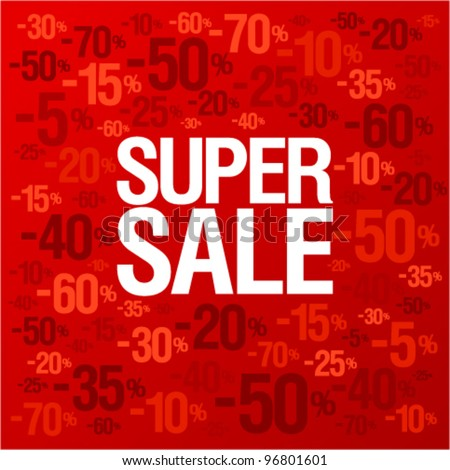 Super sale background with percent discount pattern. - stock vector