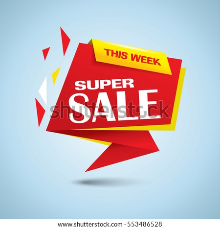 Super sale banner as origami bubble in vibrant red and yellow colors - vector