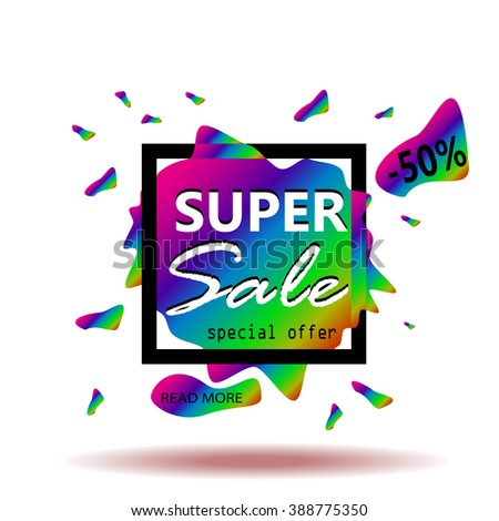 Super sale banner. Colorful background. Sale Text. Sale Background for your promotional brochure or booklet, posters, advertising shopping flyers, discount banners. Vector illustration