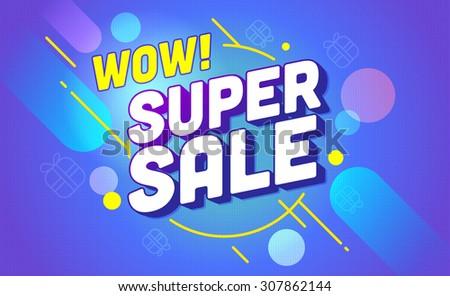 Super sale banner design.Vector illustration - stock vector