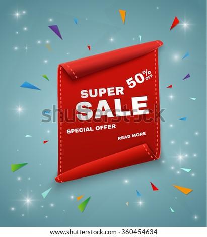 Super Sale Banner. Ribbon. Vector Illustration - stock vector