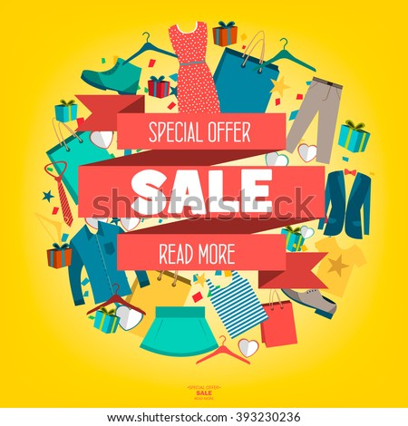 Super Sale Clothing Accessories Banner Big Stock Vector