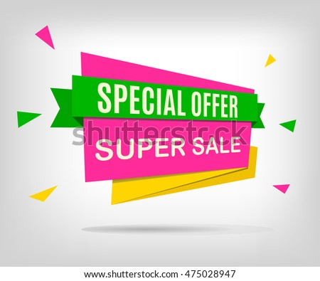 Super sale colorful banner. Beautiful discount poster on a abstract gray background. Special offer. Vector illustration, eps 10