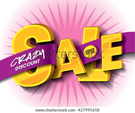 Super Sale concept with label banner. sale layout design. Vector illustration - stock vector