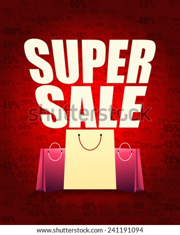 Super sale design and shopping bag with percentage red gradient background. - stock vector