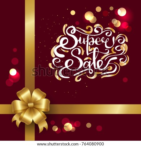 Super sale inscription on poster isolated on burgundy background, with blurred shining circles, bow and ribbon in corner, info about discounts vector