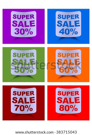 Super sale label set, percent discount, labels in different colors for 30, 40, 50, 60, 70, 80 percent, cambered paper shapes with shadow