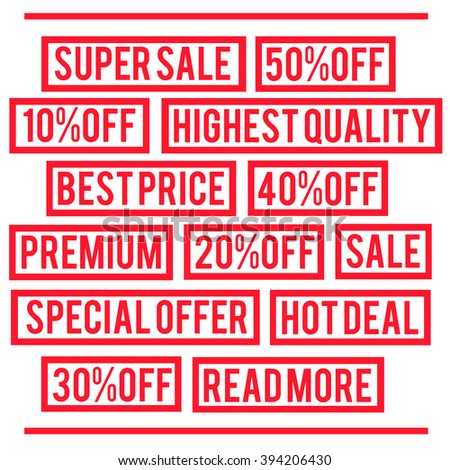 Super sale, special offer, best price, premium rubber stamps. Vector illustration.  - stock vector