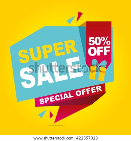 Super sale vector banner. 50% off .  Vector illustration.
