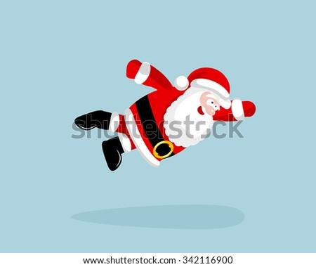 Super Santa Claus is flying. Vector illustration. EPS 8. No transparency. No gradients. - stock vector