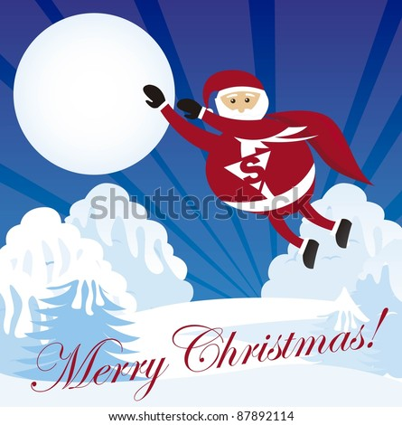 super santa claus over winter landscape. vector