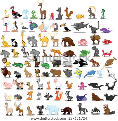 Super set of 91 cute cartoon animals  - stock vector