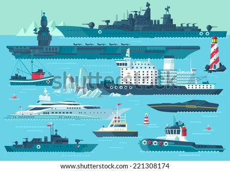 Super set of water carriage and maritime transport in modern flat design style. Ship, boat, vessel, nave, bark, warship, battleship, yacht, wherry, hovercraft. Isolated on blue background  - stock vector