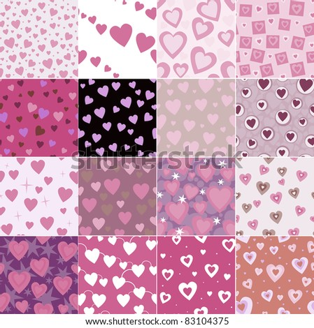 super set vector seamless pattern with hearts - stock vector