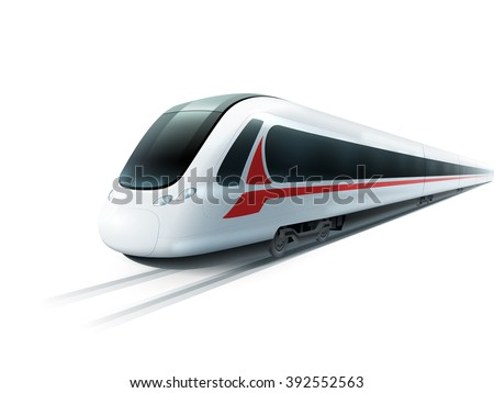 Super streamlined high-speed train on white background emblem realistic image ad poster isolated vector illustration  - stock vector