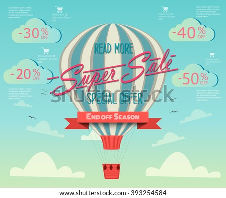 Super tag sale in a hot air balloon flying in the sky. Sale background. Big Sale. Sale tag. Sale poster. Sale vector. Super Sale and special offer. 50% discount. Vector illustration. - stock vector