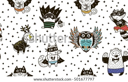 Superhero animal seamless pattern. Owl, deer, fox, cat, penguin, raccoon and bear in superheroes costume. Awesome childish background in cartoon style.