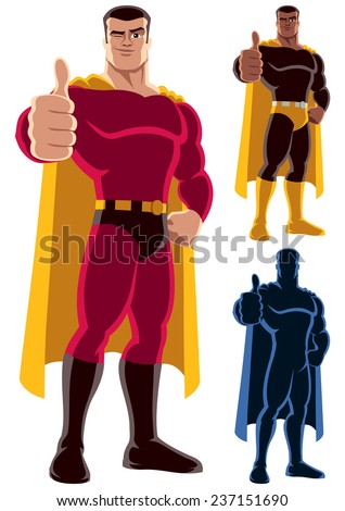 Superhero Approving: Superhero giving thumbs up. On the right are 2 additional versions, including silhouette. No transparency and gradients used. - stock vector