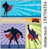 Superhero Banners: Set of 4 superhero banners. No transparency and gradients used. - stock vector