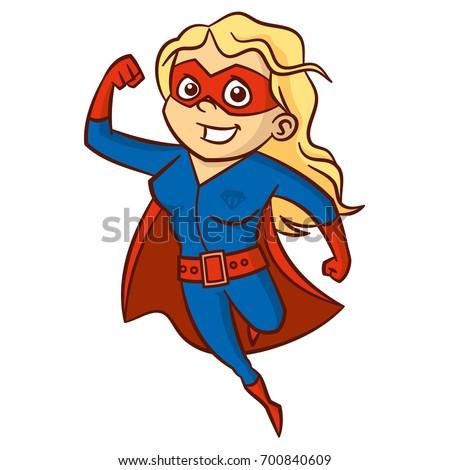 blonde cartoon character  Superhero Blonde Woman Cartoon Character Isolated Stock Vector ...