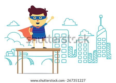 Superhero boy post front city of imagine background. concept cartoon about power, imagine, fun, learning and progress of kid