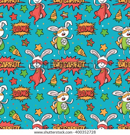 Superhero. Bunny. Carrot. Asterisk. Dialog cloud - Bang! Big carrot! Vector seamless background. Funny little power superhero bunny in raincoat. Superhero concept. Children's pattern with superheroes. - stock vector