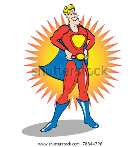 Superhero cartoon or comic book character wearing a cape.