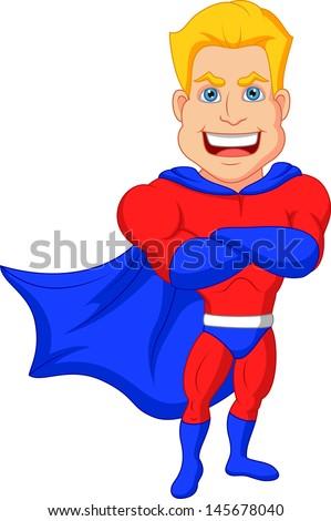 Superhero cartoon posing  - stock vector