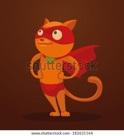Superhero cat, vector - stock vector