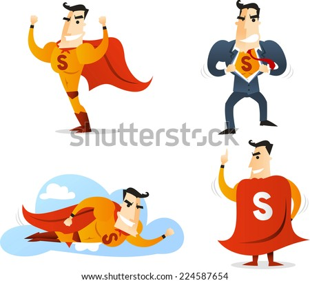 Superhero Character in four different poses and situations, showing off, back view, converting and flying vector illustration. With red cape, yellow suit and blue suit. Cute character cartoon.  - stock vector