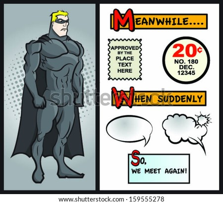 Superhero Character With Comic Designs - stock vector