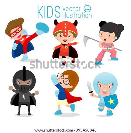 Superhero Children's, Superhero Kids,Kids With Superhero Costumes set,kids in Superhero costume characters isolated on white background,Cute little Superhero Children's collection,Superhero Kids. - stock vector