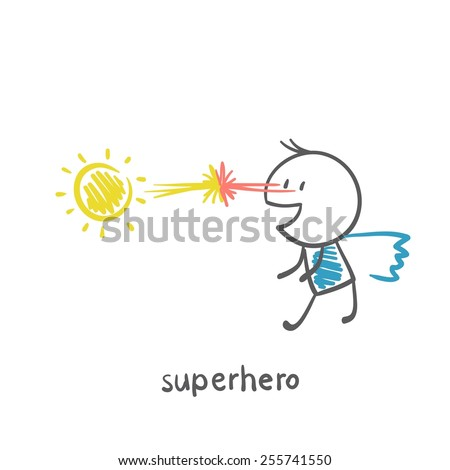 superhero competing in strength with the sun illustration - stock vector