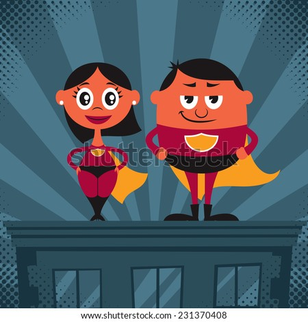 Superhero Couple Cartoon: Cartoon male and female superheroes. No transparency and gradients used.  - stock vector