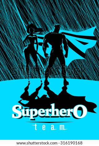 Superhero Couple: Male and female superheroes, posing in front of a light. Rain background. Vector illustration - stock vector