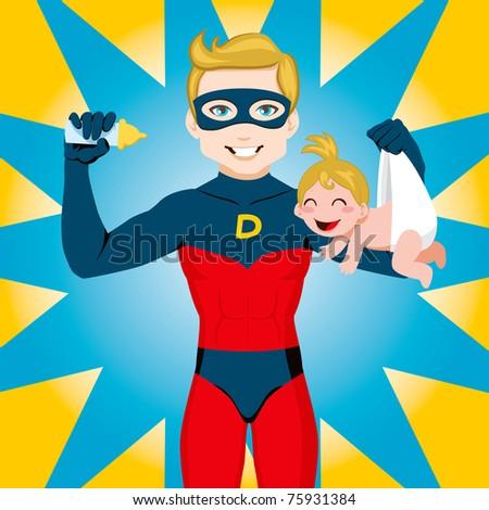 Superhero Dad feeding newborn baby girl - stock vector