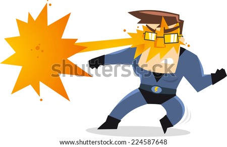 Superhero dad, with flash light coming out of its eyes using his fire powers, with blue hero costume and thunder belt vector illustration.  - stock vector