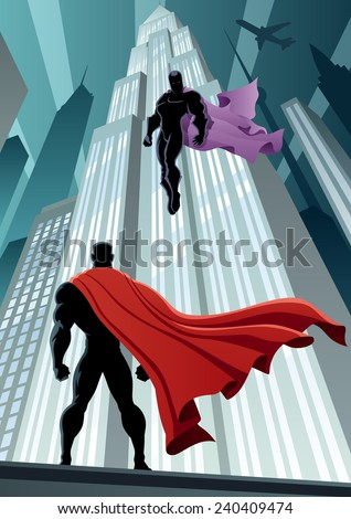Superhero facing supervillain. No transparency used. Basic (linear) gradients. A4 proportions. - stock vector