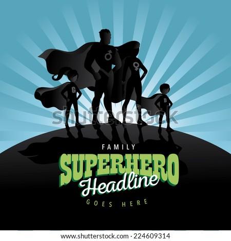 Superhero Family burst background Jpg or EPS 10 vector - stock vector