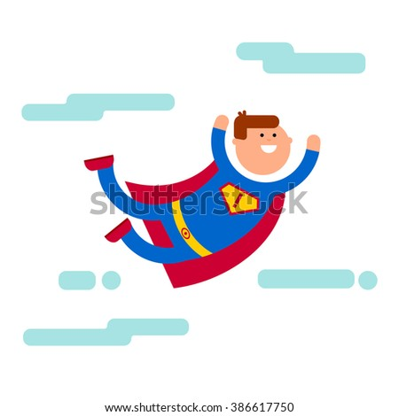 Superhero flat cartoon character illustration. Fly in the sky banner. Super brave concept. Superhero smile and strong man. Superhero comic character - stock vector