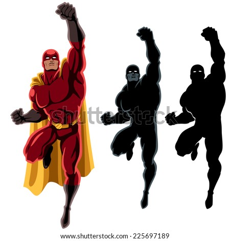 Superhero Flying 2 Flying Superhero Over Stock Vector ...