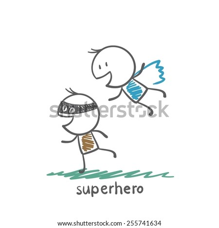 superhero flying over a bandit illustration - stock vector